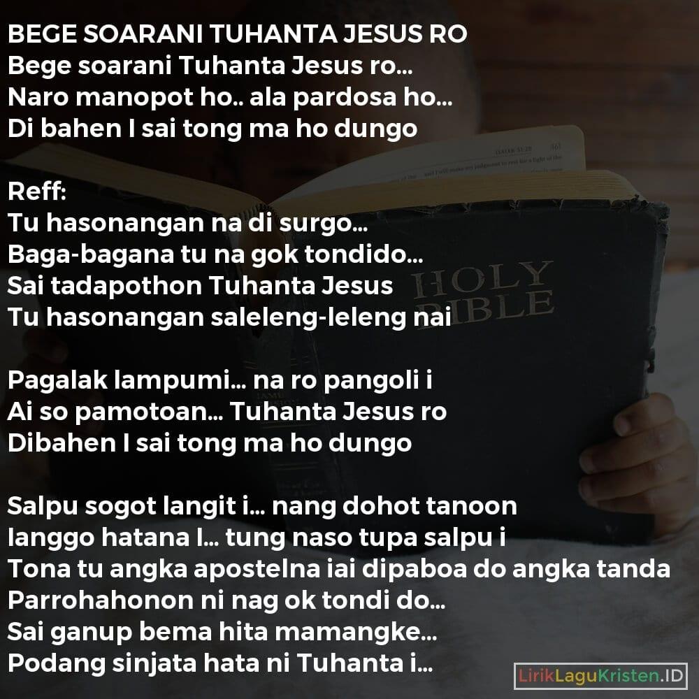 BEGE SOARANI TUHANTA JESUS RO