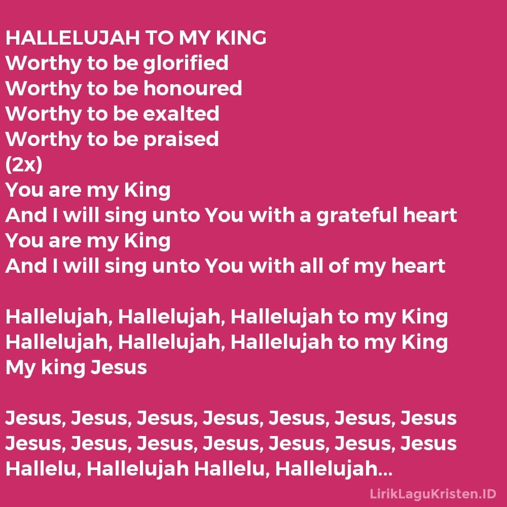 HALLELUJAH TO MY KING