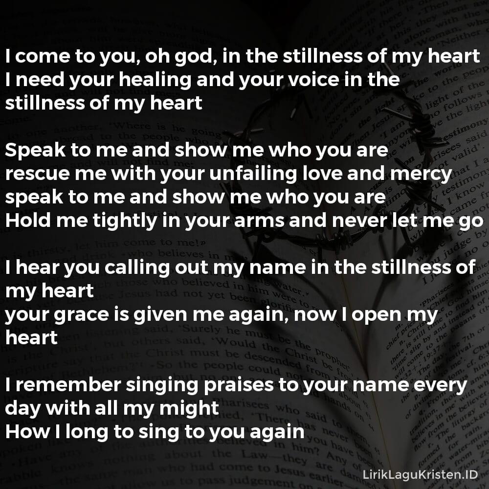 Stillness (Speak To Me)